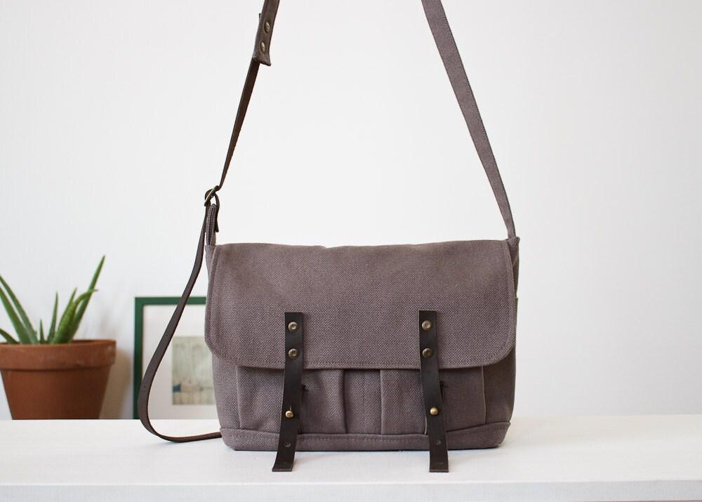 grey canvas satchel bag - AdaBlackjack