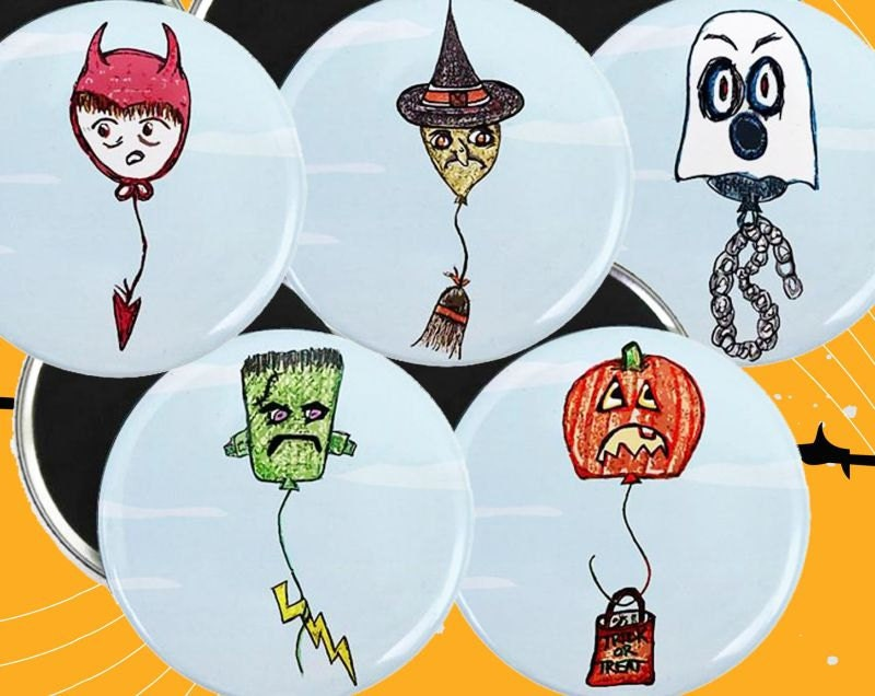 Halloween Balloon Magnets by tamarakraft