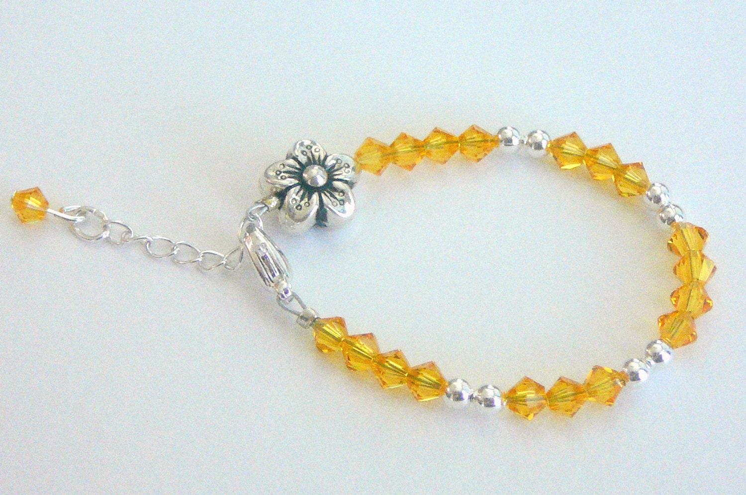 SALE LAST One - Sunflower Swarovski Crystal Baby/Child Bracelet with 1 inch Extender -Christmas Gift/Stocking Stuffer