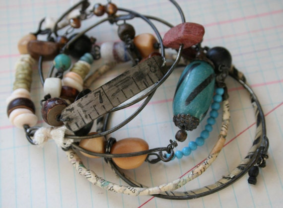 Numbers Talisman Bracelet set - wrapped and stack Gypsy Bracelets