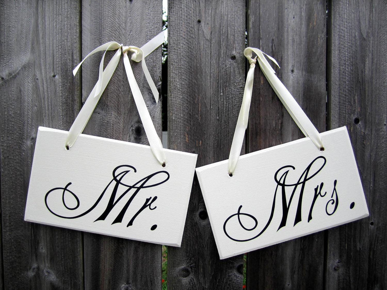 """6 """"x 10"""" Signo de la boda de madera: Conjunto de 2 piezas de doble cara - Mr. & Mrs. y Gracias"""