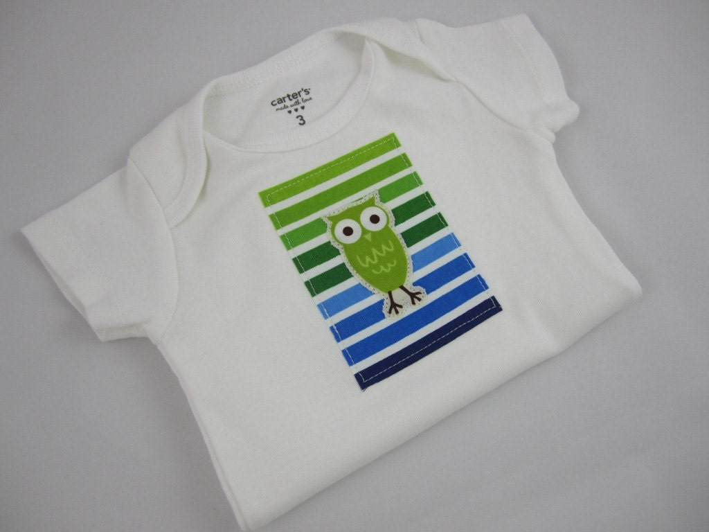 Owl Onesie - Owl and Stripes Carter's Bodysuit - Baby Boy or Gender Neutral - Choose Your Size - Ann Kelle Staggered Owls