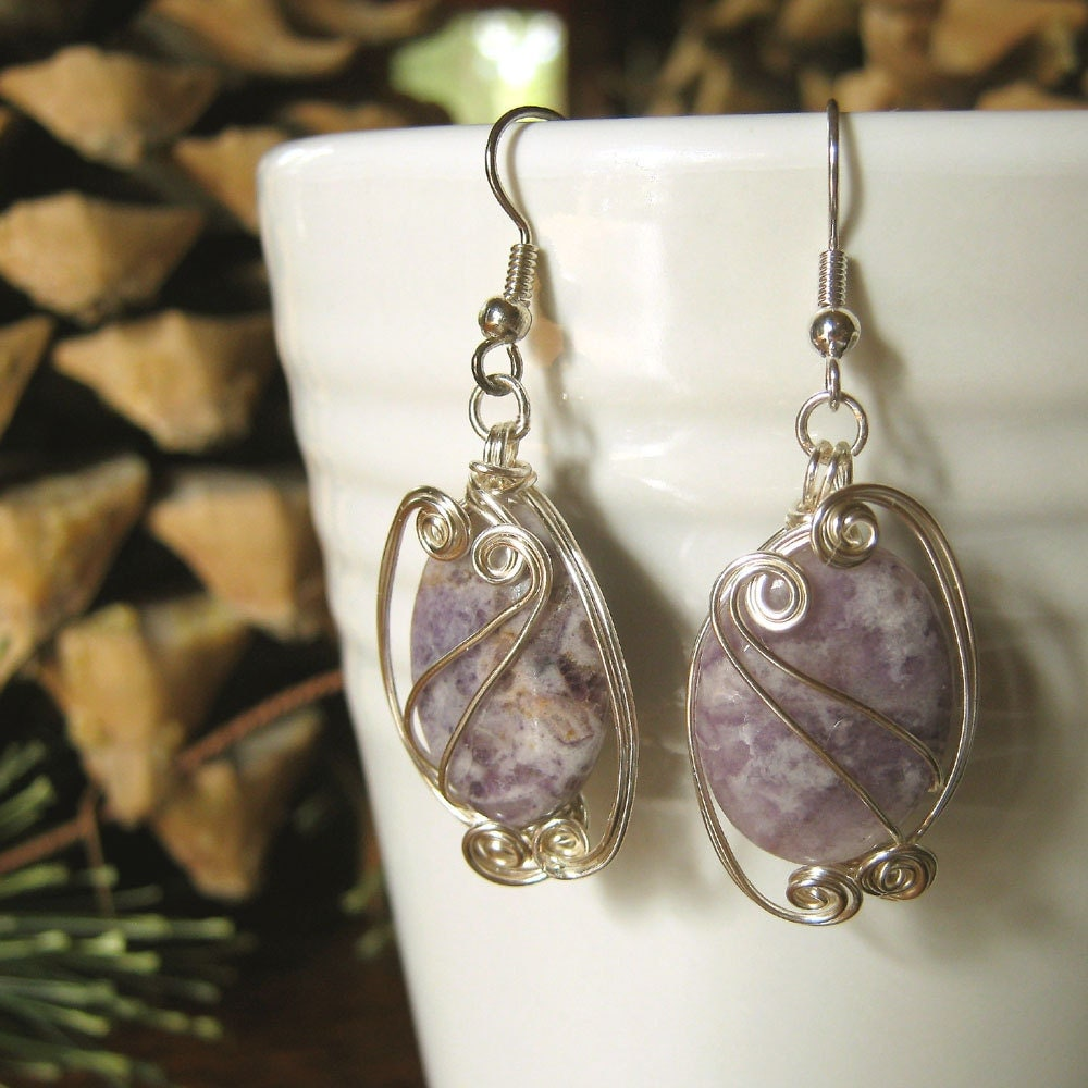 Crazy Lace Agate Wire Wrapped Earrings - Lavender Dangle Stone Earrings