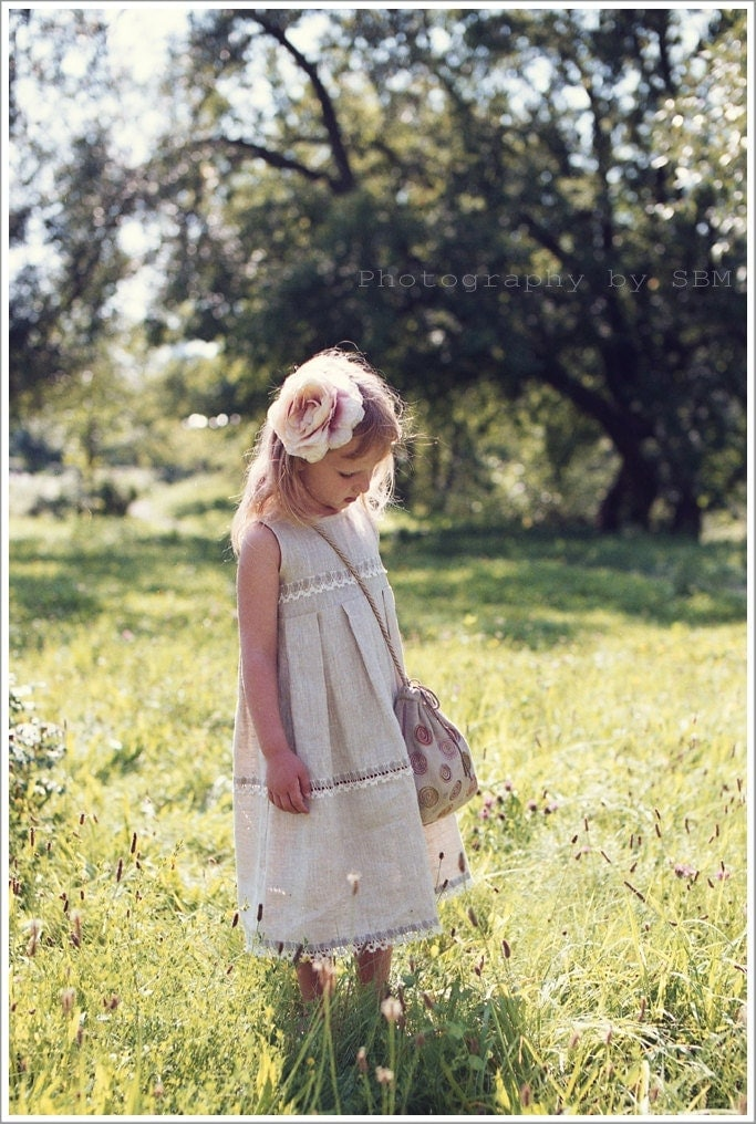 Easter dress - Children clothing - Girl dress - Long linen girl dress , sizes 0.5 - 5 year - Spring Dress - Children Spring