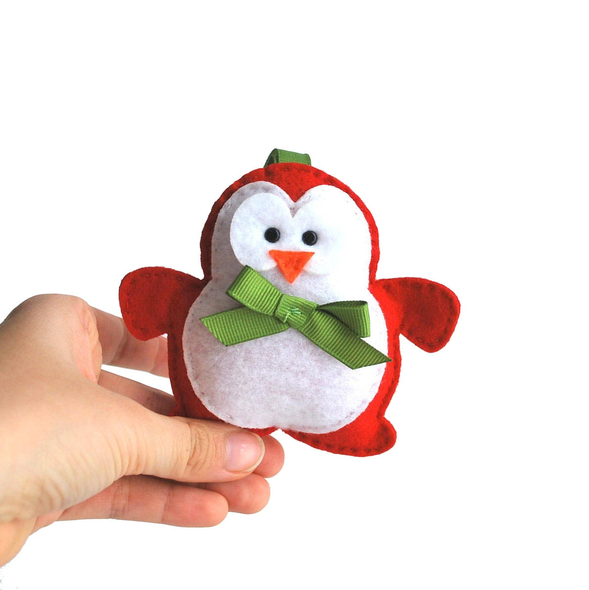 Red Valentine Penguin Ornament, Holiday Ornament - first baby ornament  A483