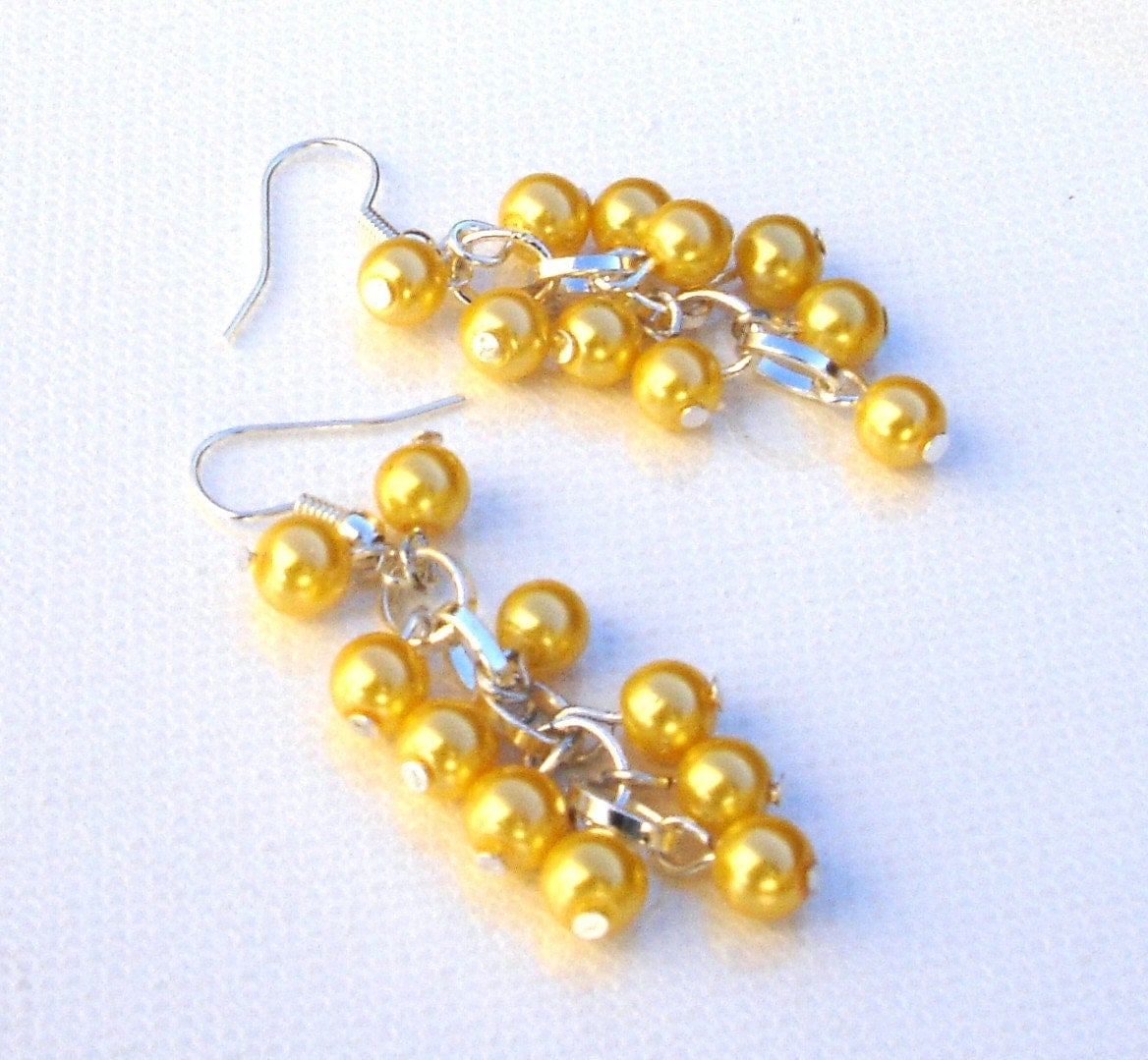 Sale: Cascading Yellow Pearl Earrings