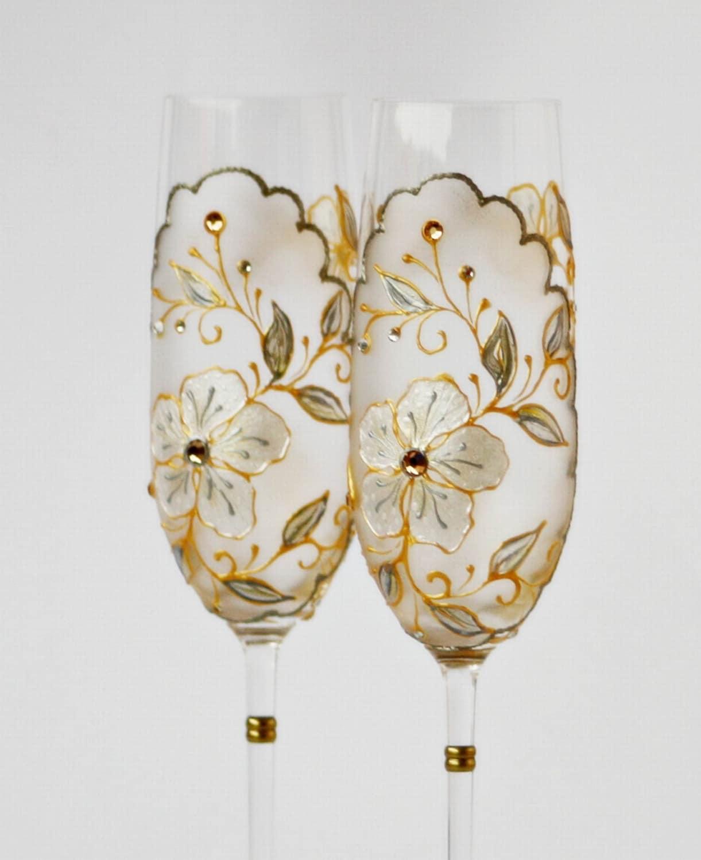 Свадебное шампанское флейты Ручная роспись в белый, серебряный, золотой украшенный кристаллами Сваровски Свадебные подарки, юбилей подарок, рождественский подарок