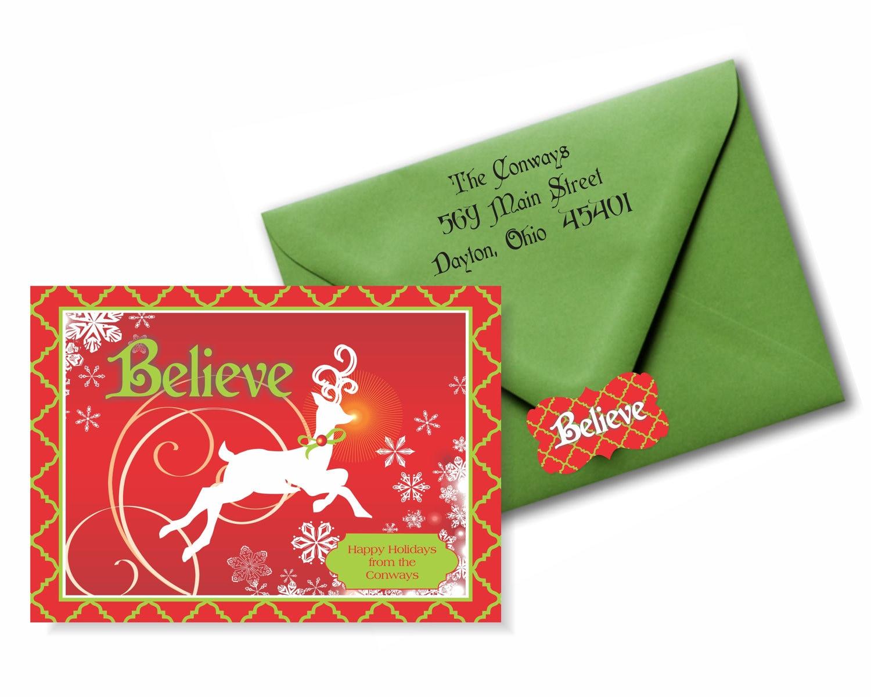 Believe Holiday Christmas Cards - Custom Christmas Cards