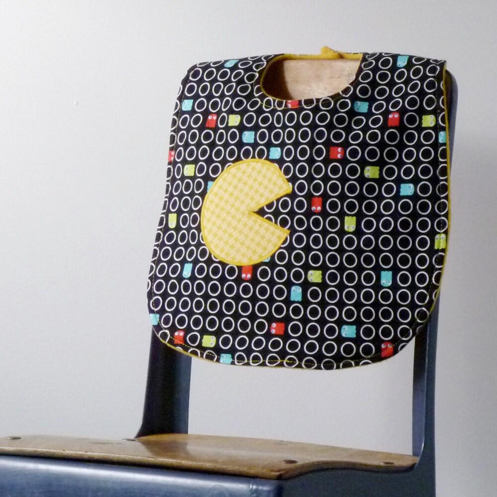 Pac Man Baby Bib - Handmade Baby Bib with Snaps