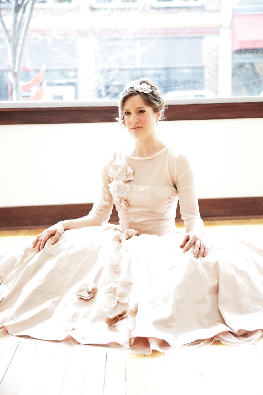 Sheer 3/4 length sleeve dropped waist full skirt wedding gown - Gia