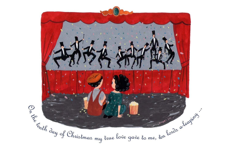 """10th Day of Christmas - 4"""" x 6"""" postcard"""
