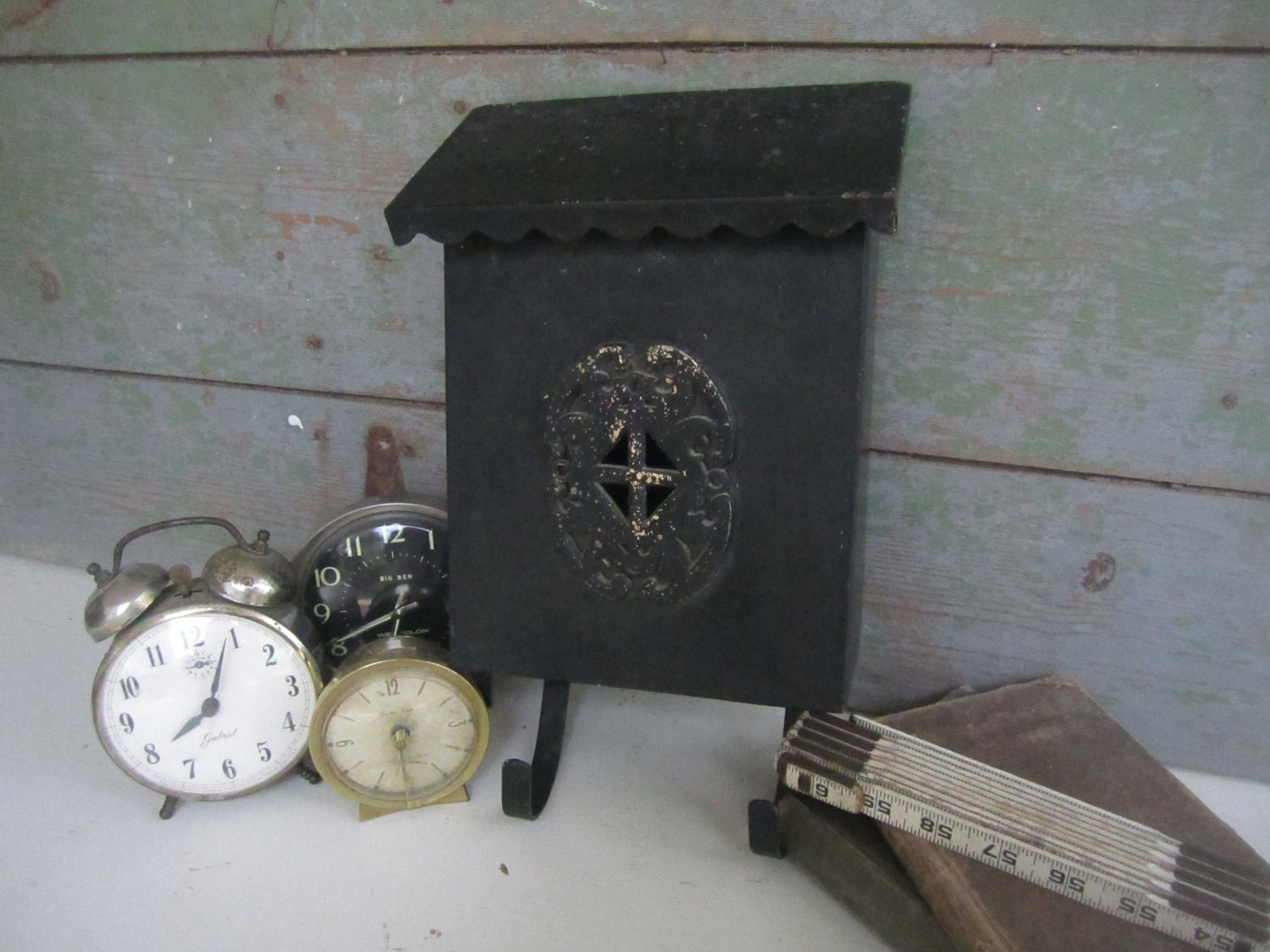 Vintage Black Metal Mailbox - Wall Catchall for Entryway or Office