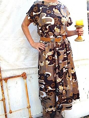 brown holiday op art black gold vintage summer handmade retro swirly cool madmen design graphics tunic leggings dress - kateblossom