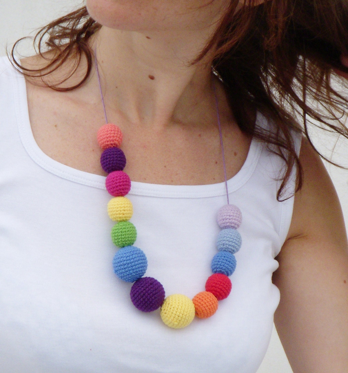 Rainbow Crochetes Necklace - ShopDreamsofCrochet