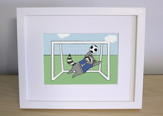 Raccoon playing soccer nursery art print