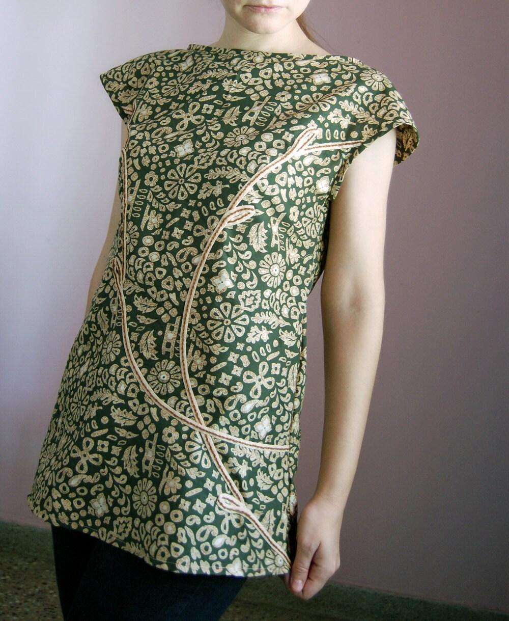 Tunic SM Small, Sleeveless Top, Long Blouse OOAK - magdamagdaFashion