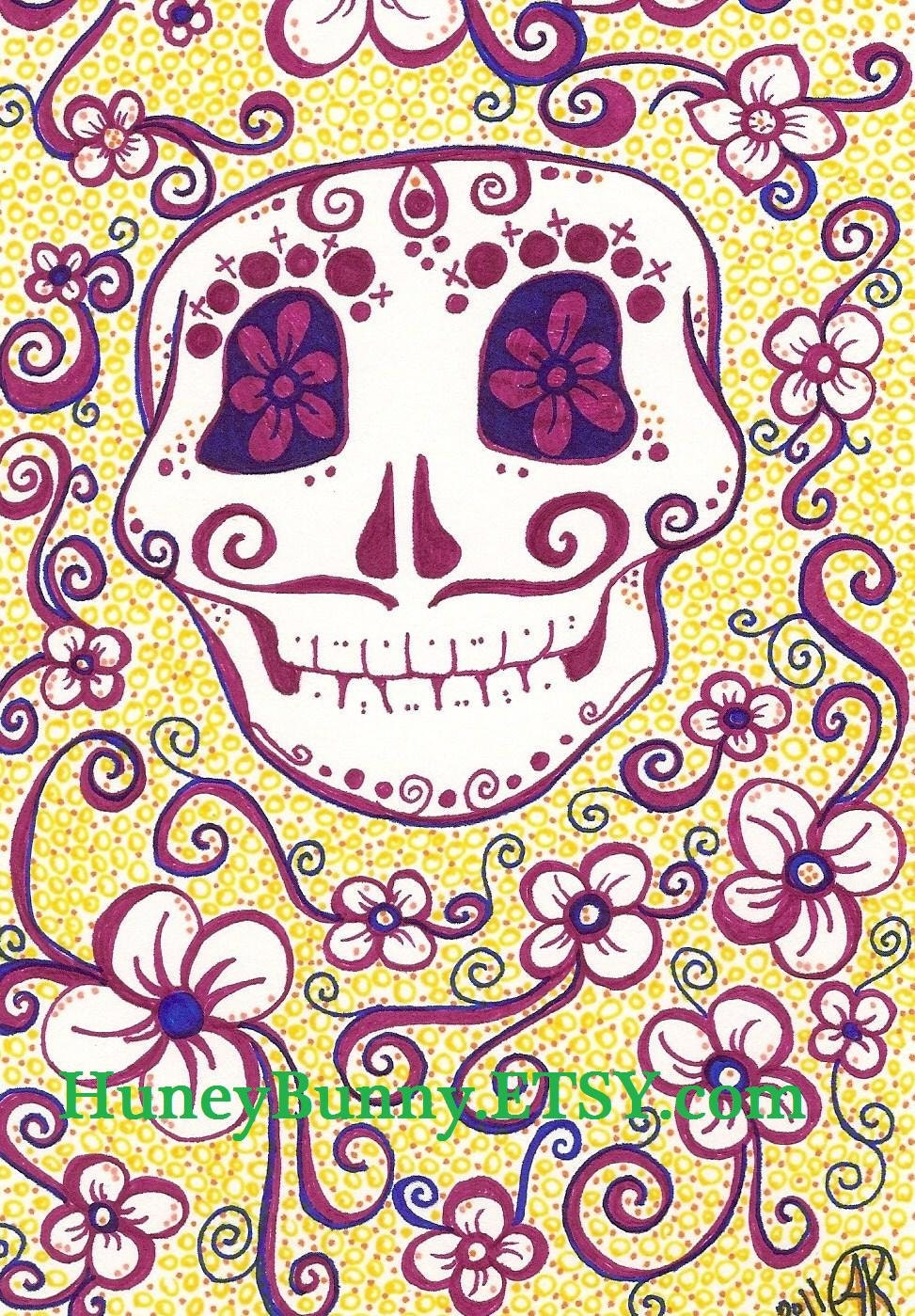 Original DaY Of The Dead Drawing. Sugar Skull artwork with Sharpies. Dia De Los Muertos.