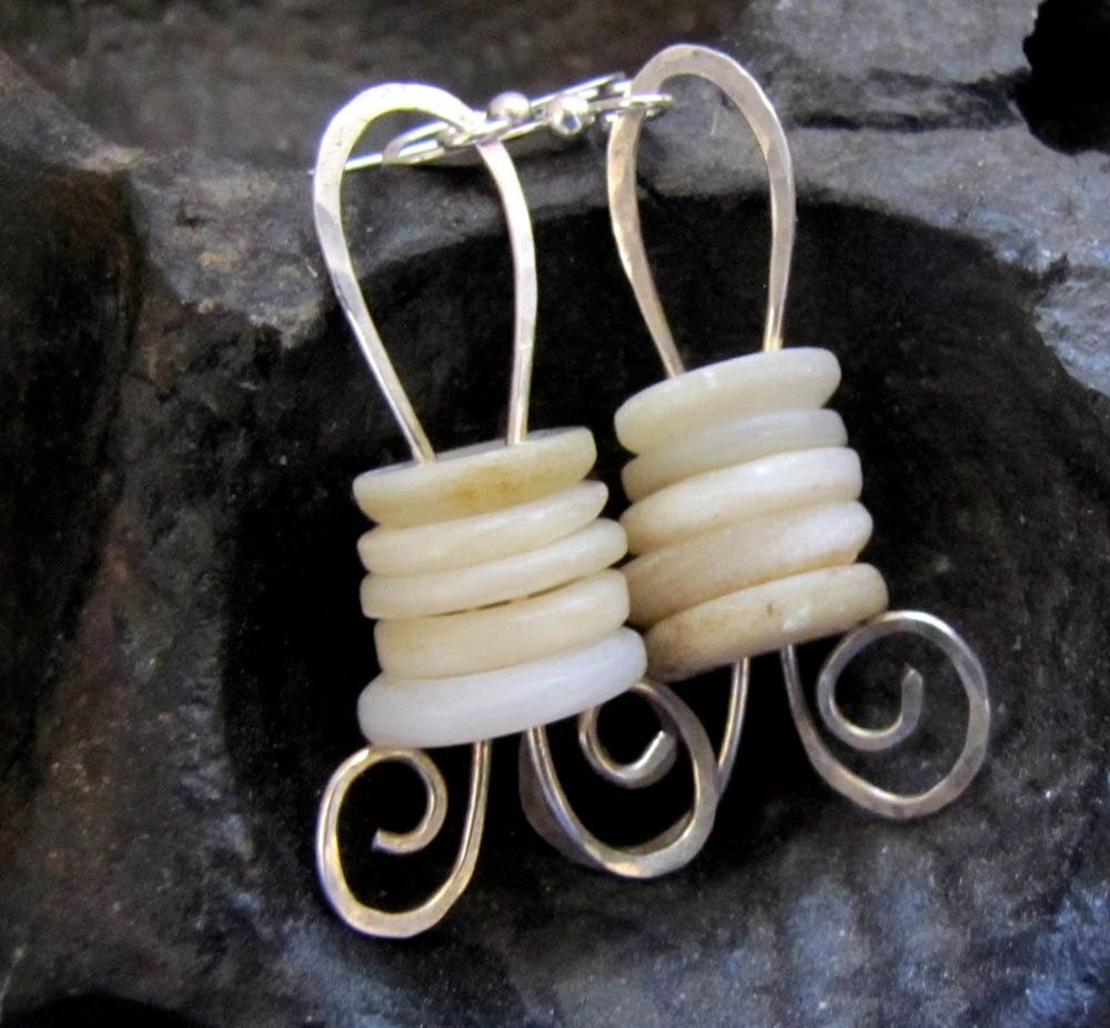 Vintage Shell Button and Silver Dangly Earrings