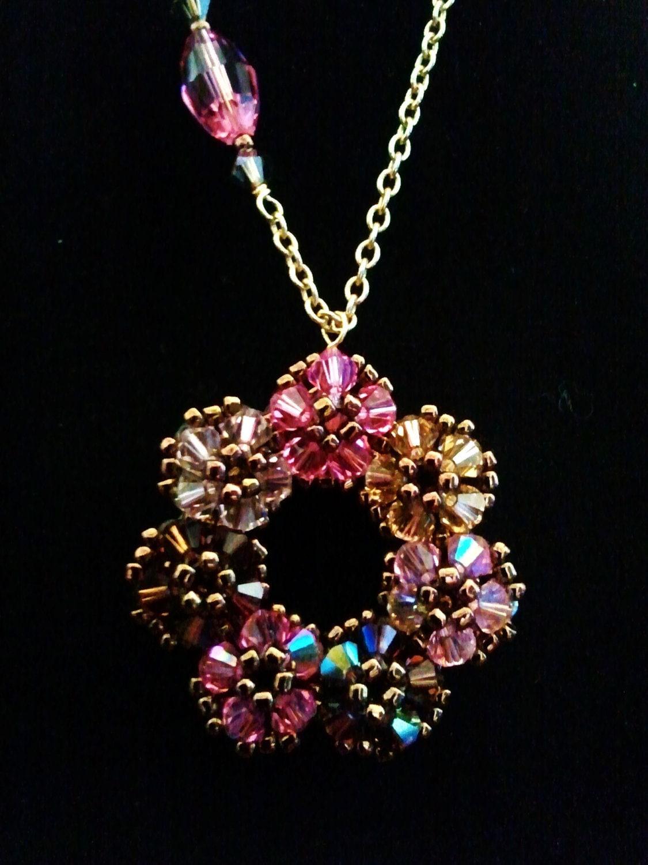 Beaded Swarovski Crystal  Flower Pendant,  Pink & Brown Necklace