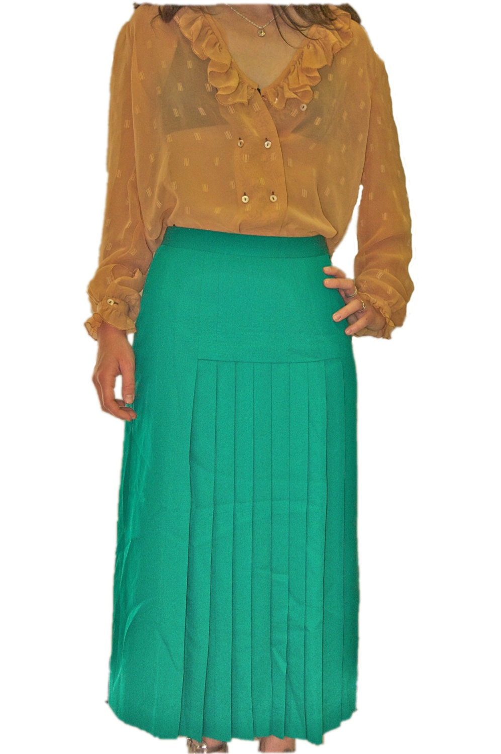 green vintage skirt on etsy