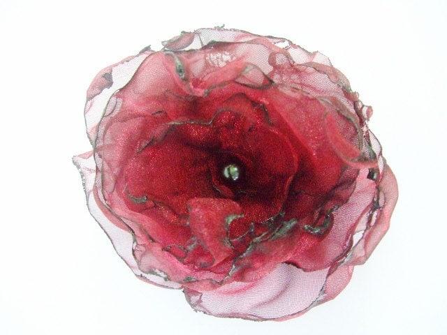 Dark Red Organza Flower Accessory, Hair Clip or Brooch, Wedding, Bridal Sash - OurPlaceToNest