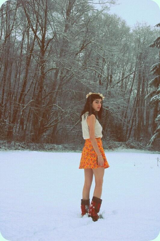 Vintage 1960s Mustard Floral Mini Skirt