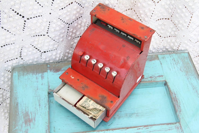 1950s Red Tin Children's Play Cash Register - rubyrose805