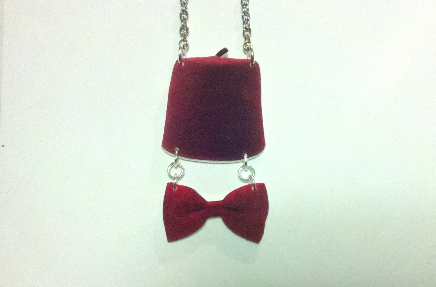 11th Doctor charm necklace - Doctor Who Jewelry - Fez and Bowie