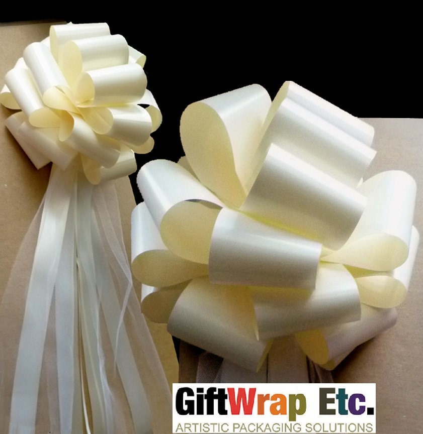 10 large ivory wedding pew pull bows tulle streamers decorations