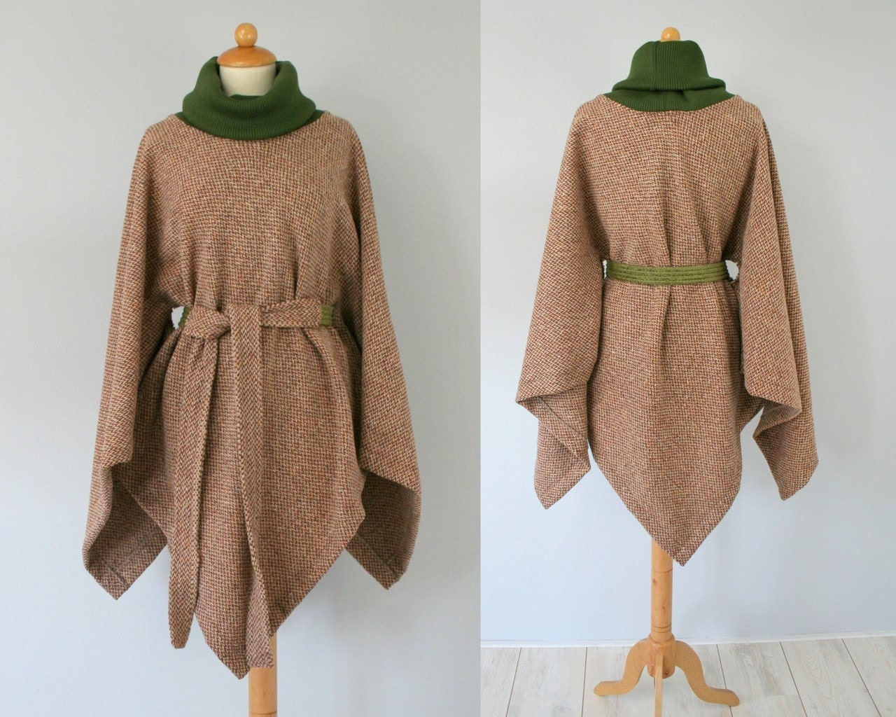Wool poncho in shades of camel brown and green - ready to ship - Bartinki