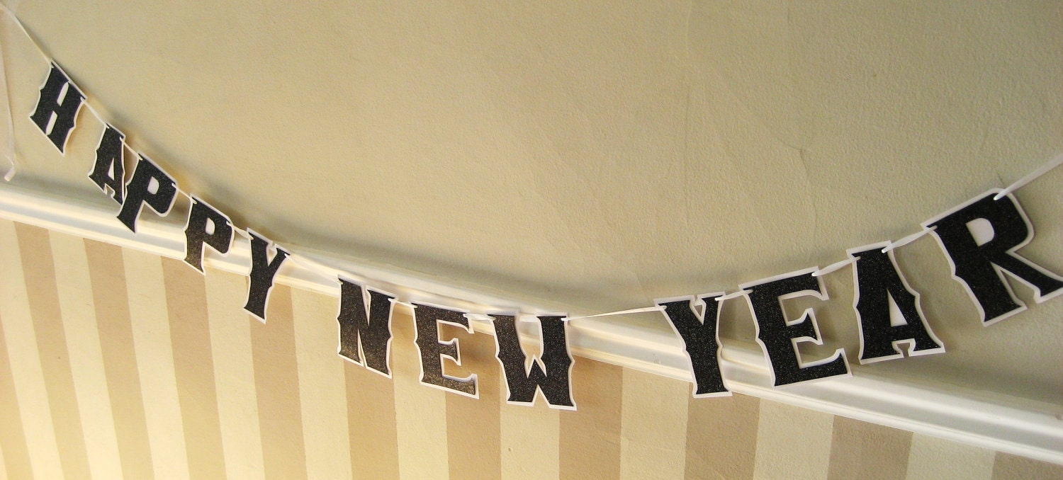 HAPPY NEW YEAR Banner - Black Glitter on White