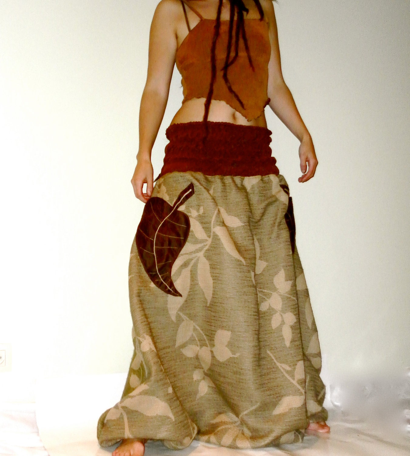 OOAK leaf harem pants - seidiclothing