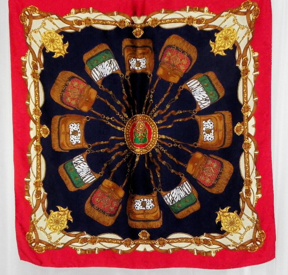 Vintage Italian Silk Scarf Large Buckle Chain Rubies Crowns Paisley  Vintage Italian Silk Scarves
