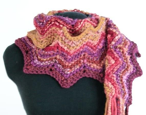 Hand Knit Sangria Chevron Scarf - Handspun Yarn, OOAK - Item 1135 - KnotChaCha