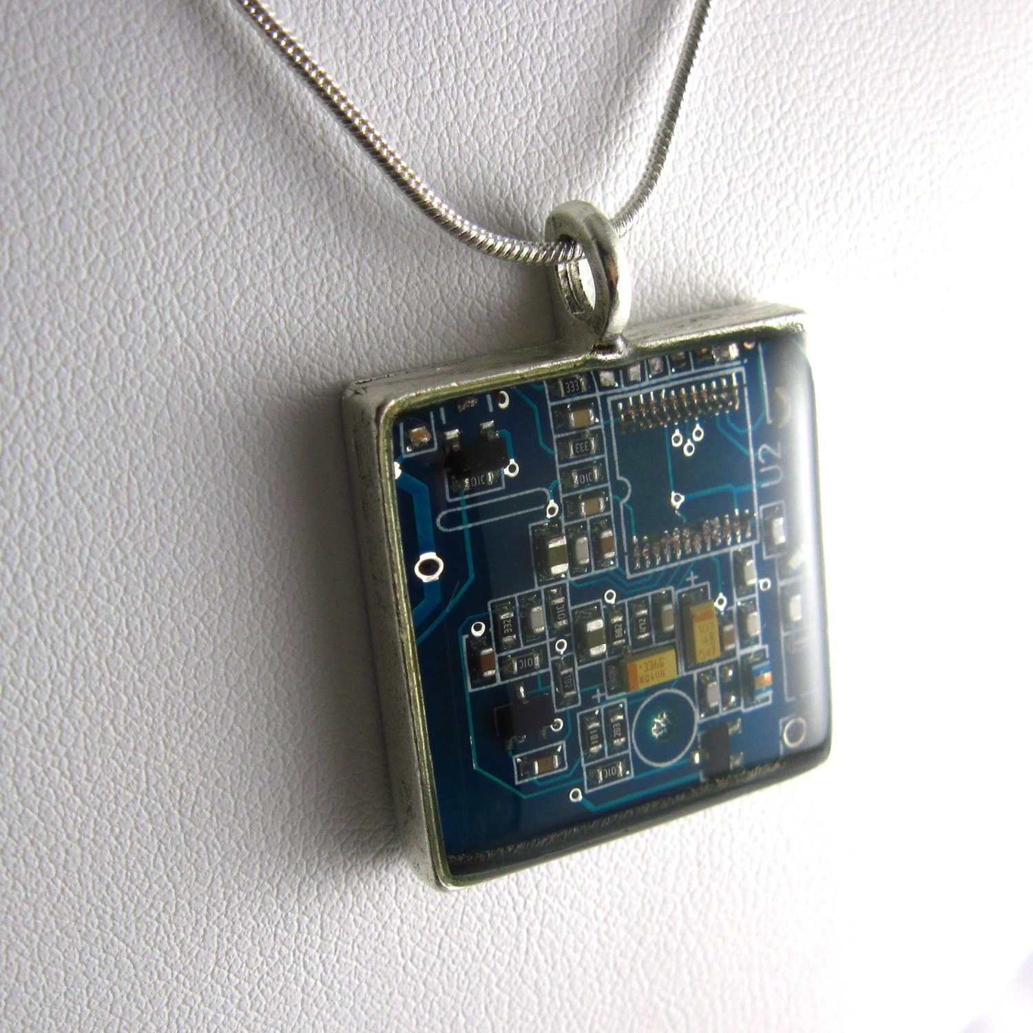 blue square circuit board necklace