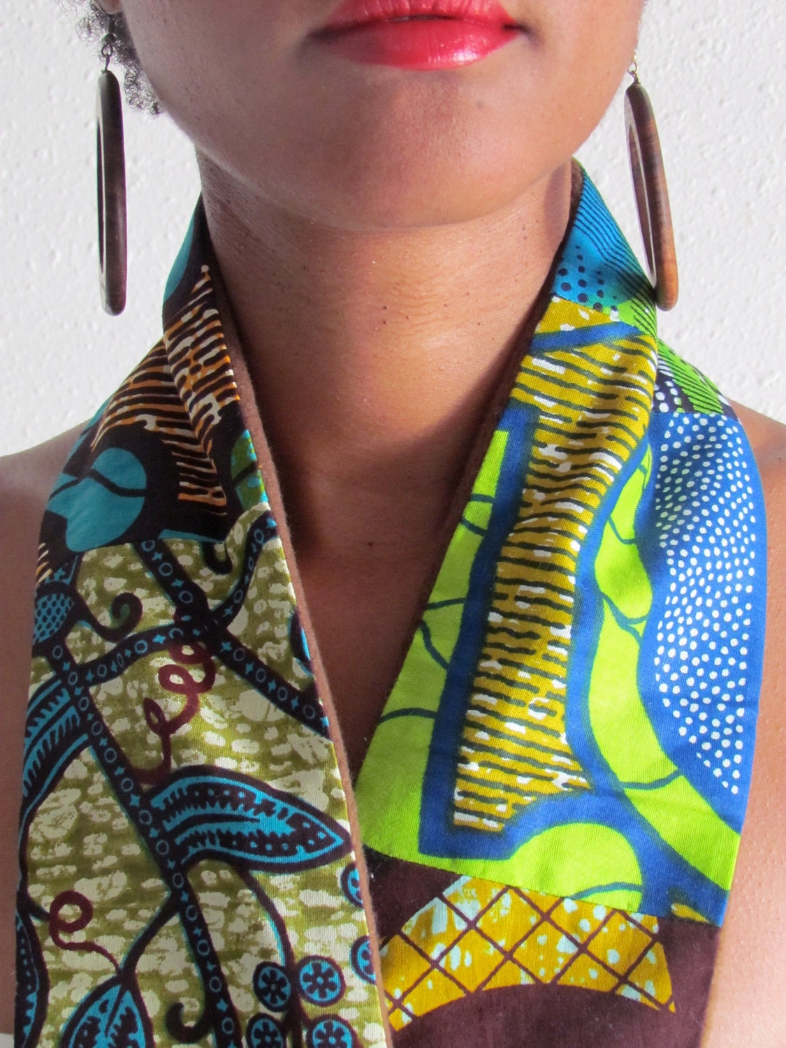 African Print Mix Winter Scarf 013Brown