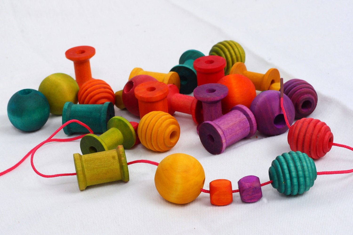 Rainbow Lacing Beads Natural waldorf and montessori inspired game