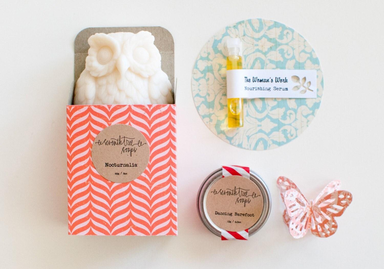 Owl Soap Gift Set - Owl Soap, Lip Balm, Nourishing Serum - seventhtreesoaps