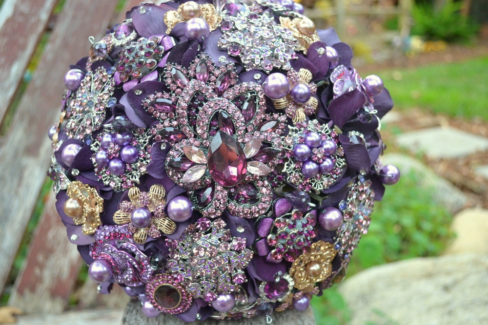 Deposit on an heirloom amethyst brooch bouquet--made to order wedding bouquet
