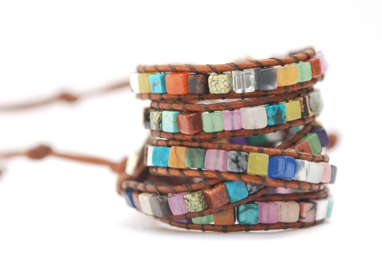 Surprise wrap leather bracelet. Mix of gemstones leather bracelet (one layer). Summer jewelry. WSC1v001 - JustWanderlustShop