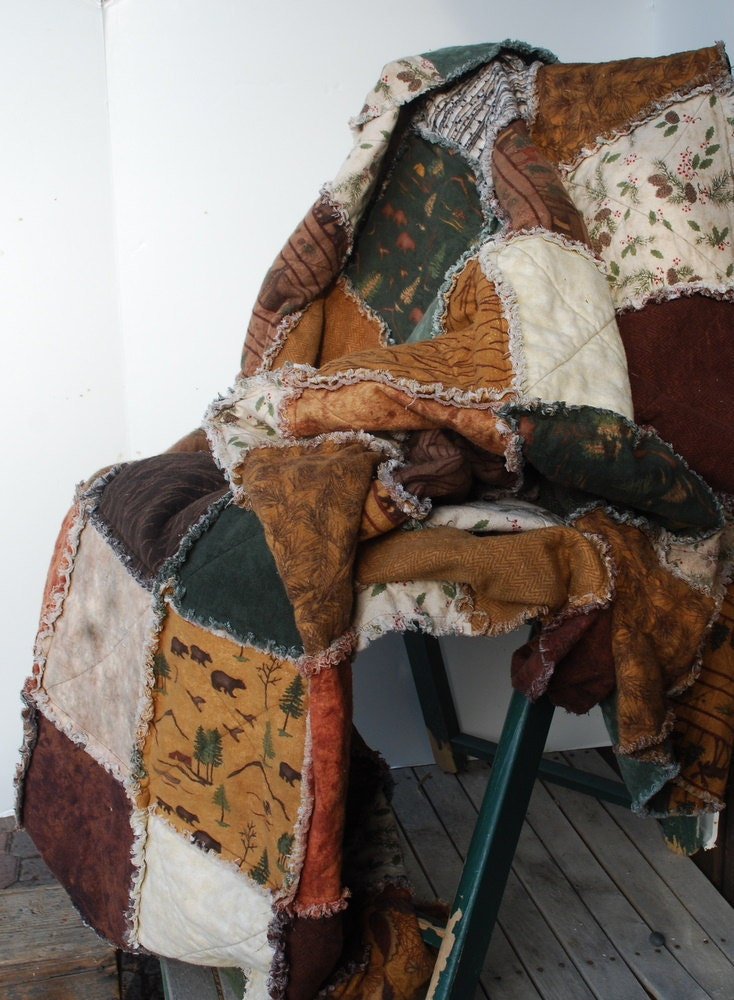 Cabin Quilt Woodland Rag Quilt Log Cabin Throw