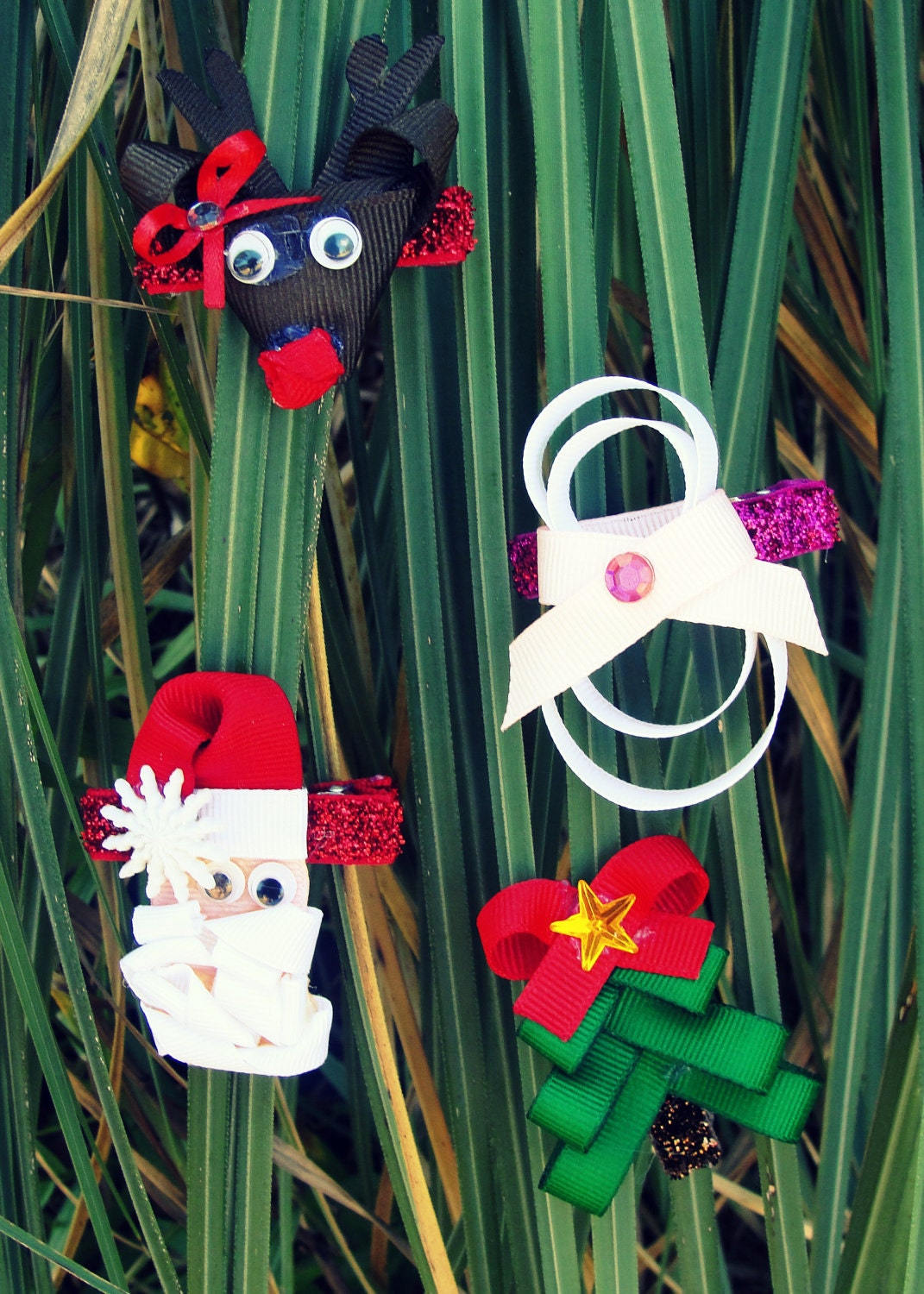 Set of 4 Christmas Sculpted  Hair Clip Set-Reindeer, Snowman, Santa Clause and Christmas Tree