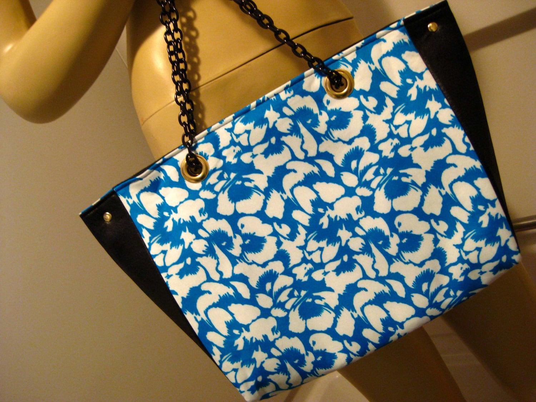 """Upcycled Blue Floral and Snakeskin """"B"""" Shoulder Bag"""