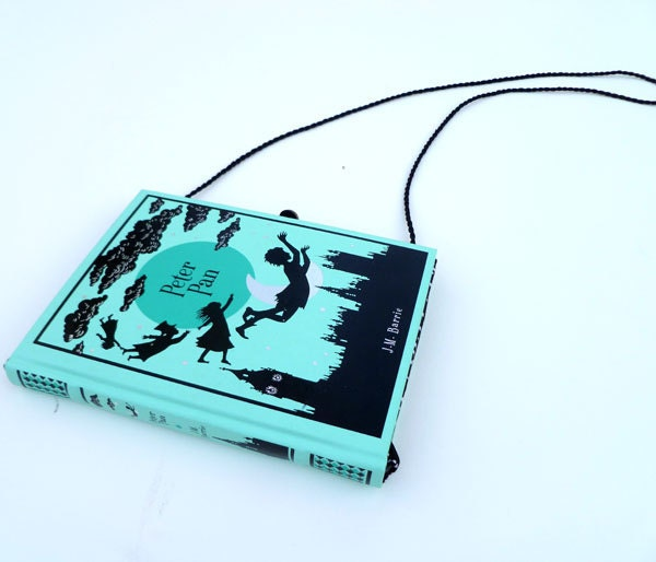 Peter Pan Book Purse Handbag Clutch- Aqua and Black