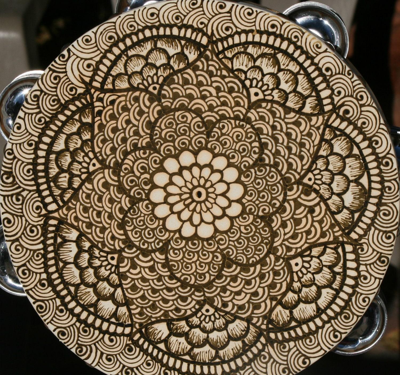 Mehndi Tattoo Mandala : Henna mandala tambourine with intricate details by