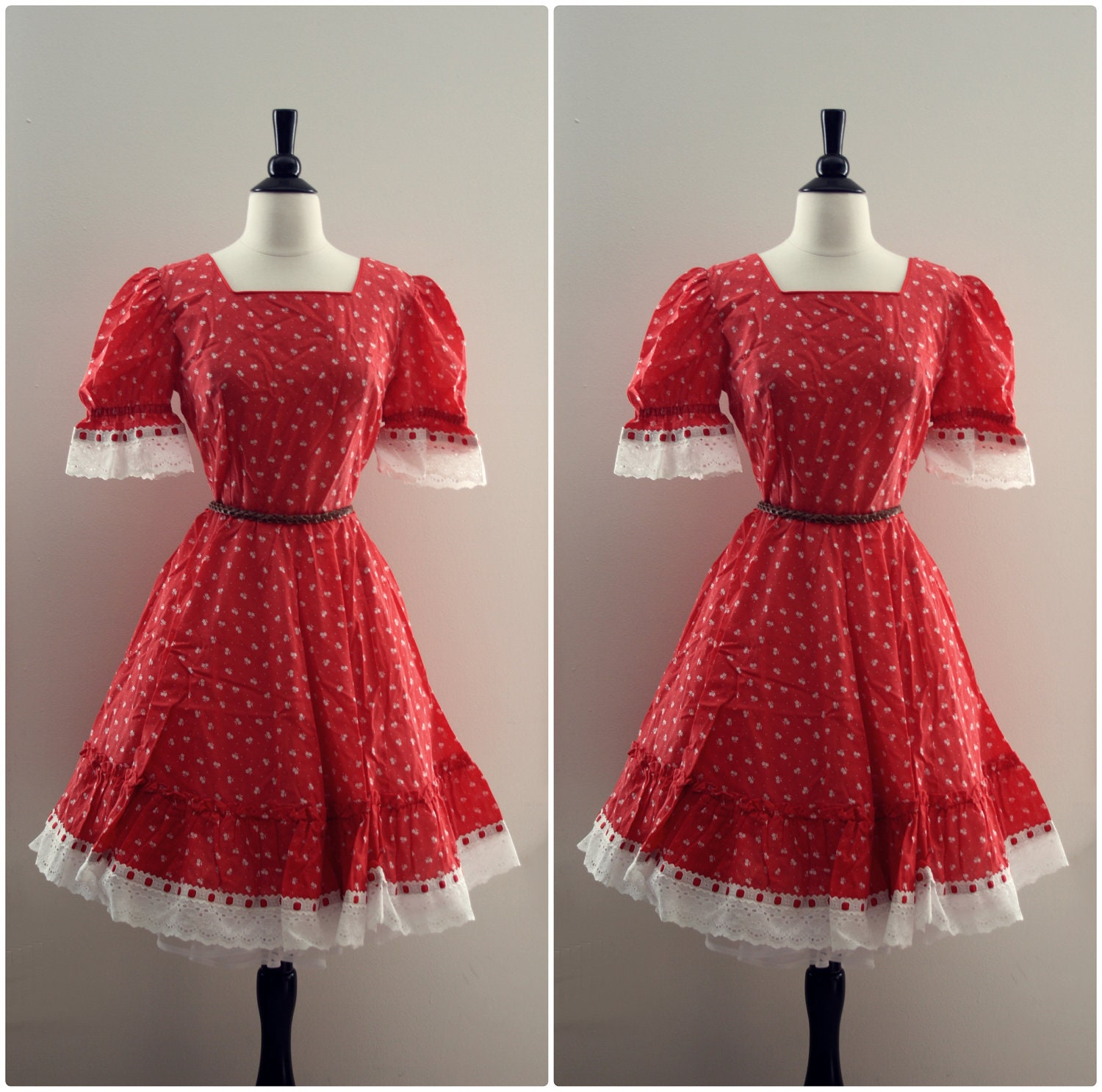 Vintage 1960s Square Dance Dress. Full Skirt. White and Red Floral Print. Eyelet Cotton, Metal Zipper. Size S/M