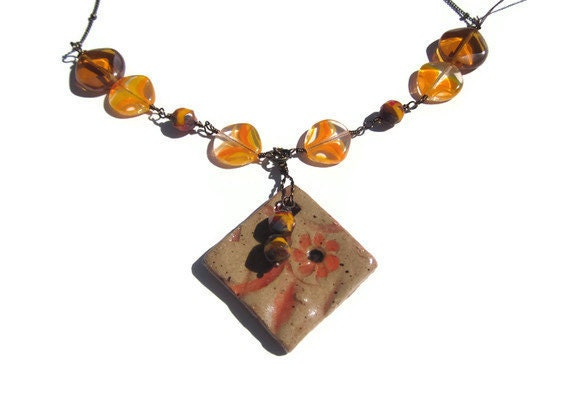 Museum of modern art vintage Lucite beads with Czech glass and a stunning handmade OOAK ceramic pendant TAGTMCTT - elementsinspired