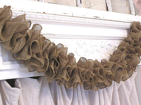 Rustic Prairie Hand Made Natural Brown Ruffle Burlap Garland