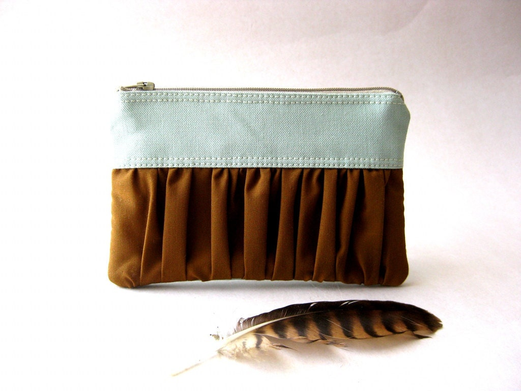 Zipper pouch, purse - The True Romantic Coin Purse in light blue-green / brown