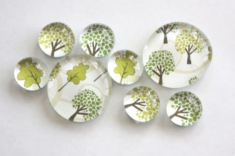 glass marble magnets. trees - dragonflies